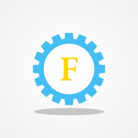 Gear initial letter F uppercase logo design template gold blue Illustration