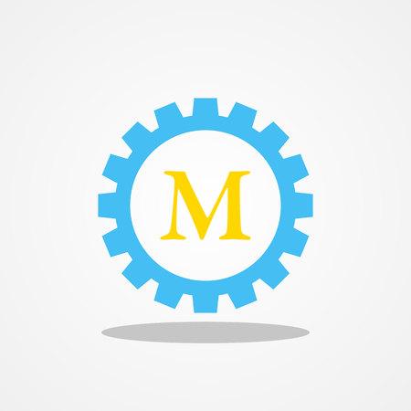Gear initial letter M uppercase logo design template gold blue