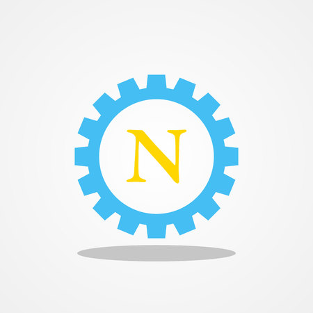 initial: Gear initial letter N uppercase logo design template gold blue