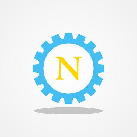 Gear initial letter N uppercase logo design template gold blue
