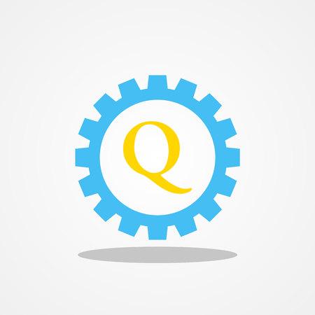Gear initial letter Q uppercase logo design template gold blue