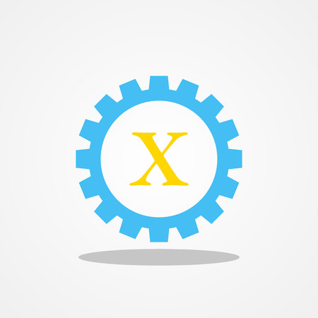 initial: Gear initial letter X uppercase logo design template gold blue Illustration