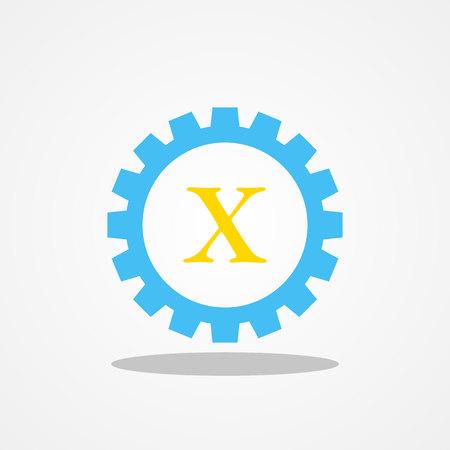 Gear initial letter X uppercase logo design template gold blue Illustration