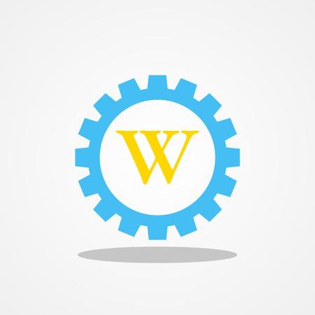 Gear initial letter W uppercase logo design template gold blue Illustration