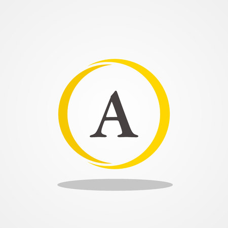 Circle initial letter A uppercase logo design template black gold
