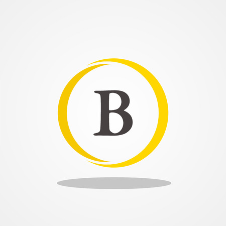 Circle initial letter B uppercase logo design template black gold Illustration