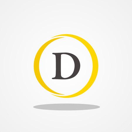 Cirkel beginletter D hoofdletter logo ontwerpsjabloon zwart goud