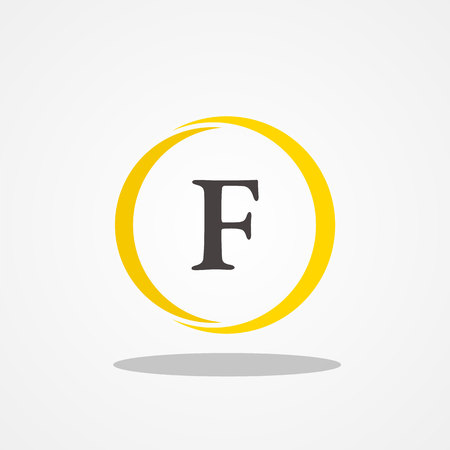 Circle initial letter F uppercase logo design template black gold