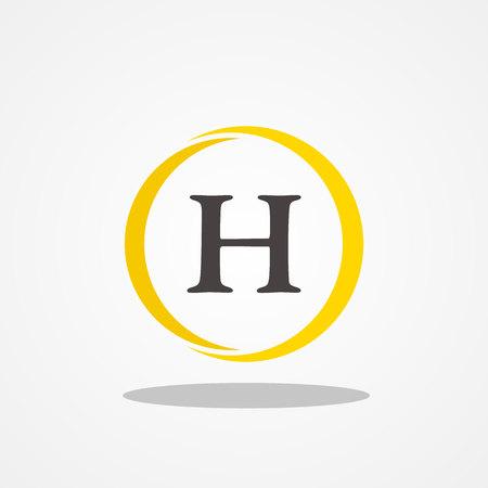 Circle initial letter H uppercase logo design template black gold