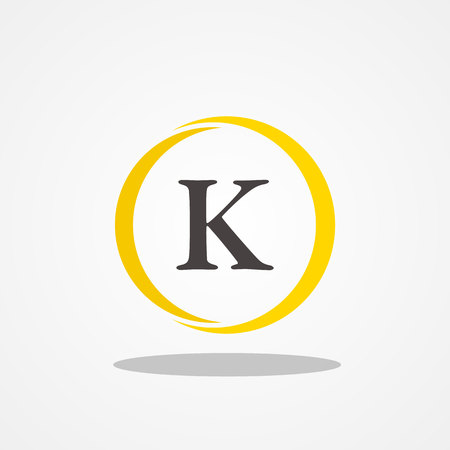 Circle initial letter K uppercase logo design template black gold
