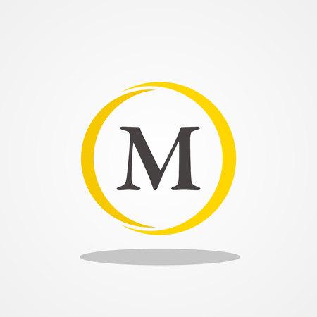 Circle initial letter M uppercase logo design template black gold Illustration