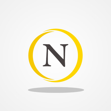 Circle initial letter N uppercase logo design template black gold