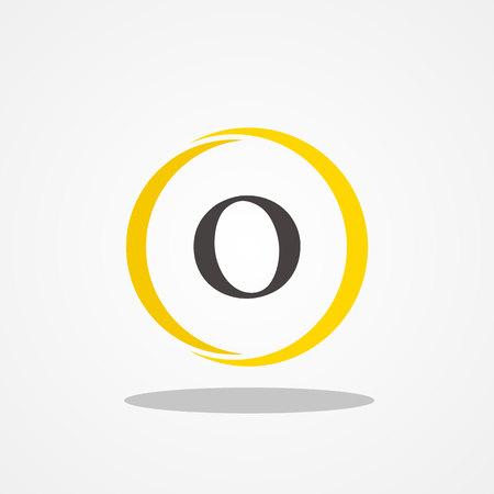 Circle initial letter O uppercase logo design template black gold