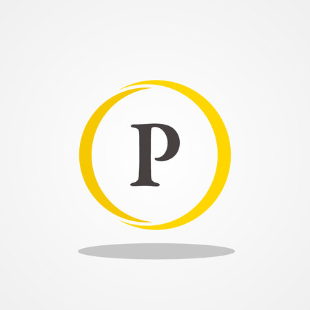 Circle initial letter P uppercase logo design template black gold