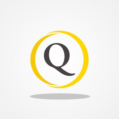 Circle initial letter Q uppercase logo design template black gold