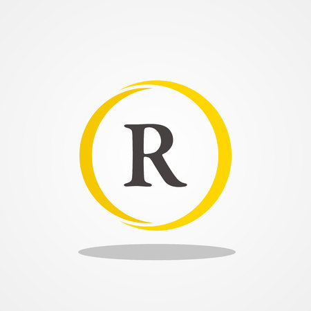 Circle initial letter R uppercase logo design template black gold