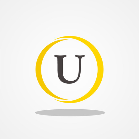 initial: Circle initial letter U uppercase logo design template black gold