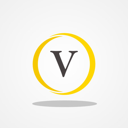 Circle initial letter V uppercase logo design template black gold