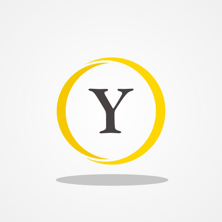 Circle initial letter Y uppercase logo design template black gold