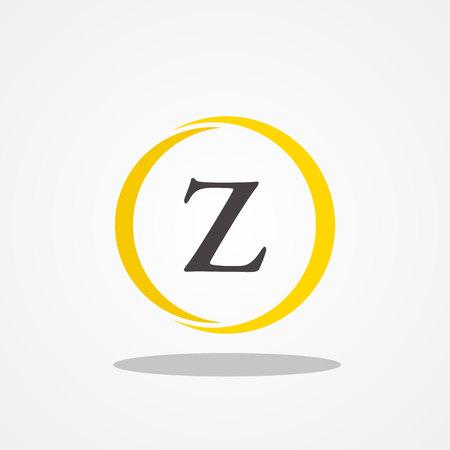 Circle initial letter Z uppercase logo design template black gold