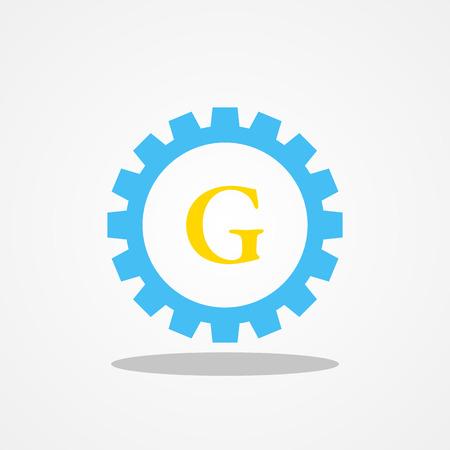 Gear initial letter G uppercase logo design template gold blue Illustration