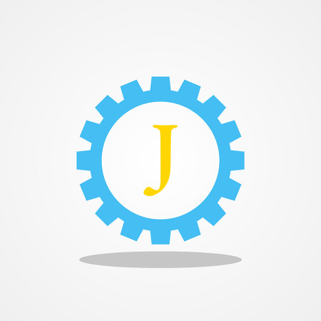 initial: Gear initial letter J uppercase logo design template gold blue Illustration