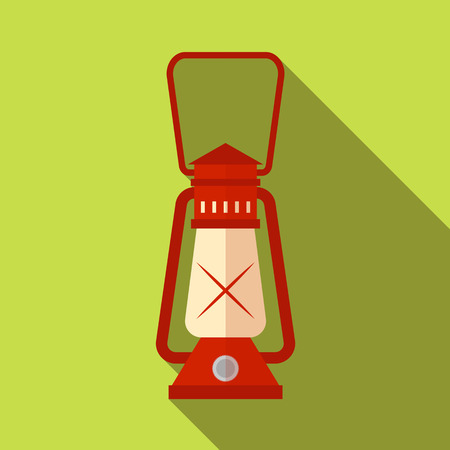 Flat icon camping equipment set illustration of lantern camping led