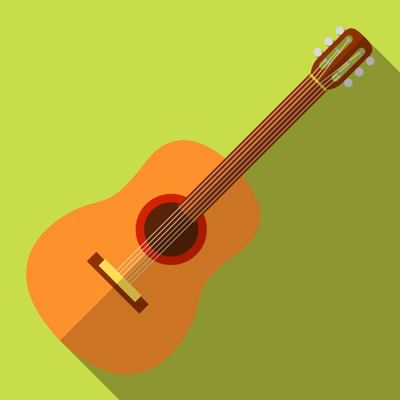 Flat icon camping equipment set illustration of guitar