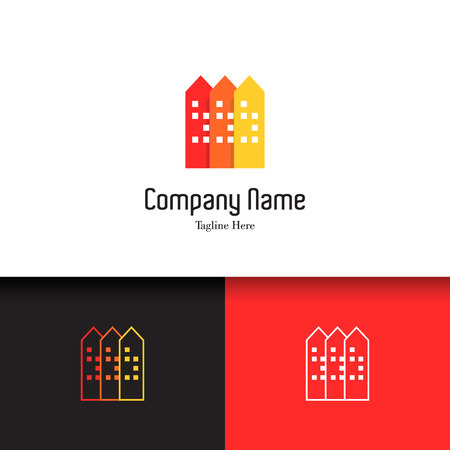 condominium: Real estate, apartment, condo, house, rental business. Corporate branding unique and creative lowercase flat design template