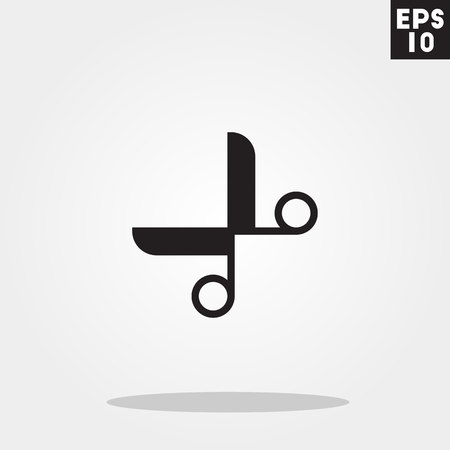 Scissor icon in trendy flat style isolated on grey background. 向量圖像