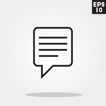 dialog balloon: Balloon square dialog icon in trendy flat style isolated on grey background. Balloon square dialog symbol for your design, , UI. Vector illustration, .