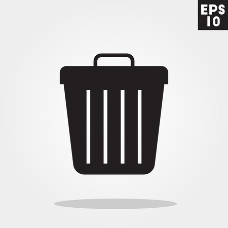 Trash icon in trendy flat style isolated on grey background.
