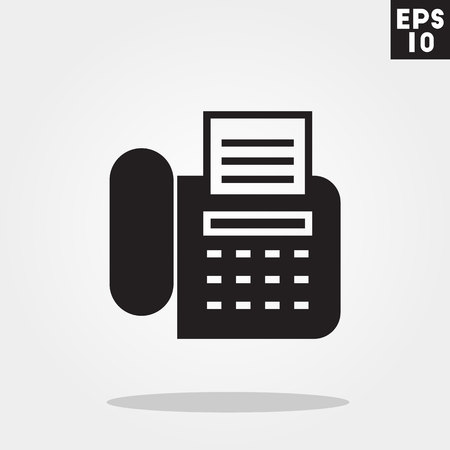 cellphone icon: Telephone with fax icon in trendy flat style isolated on grey background.