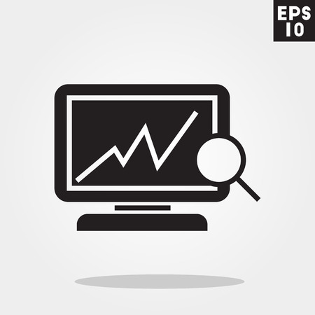 Computer analytic icon in trendy flat style isolated on grey background.