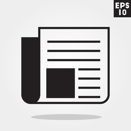 Newspaper icon in trendy flat style isolated on grey background.