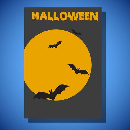 Halloween flyer flat style design illustration, threndy and cute cartoon 矢量图像