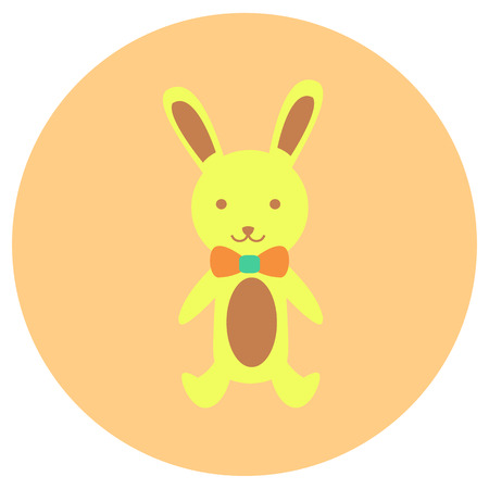 Bunny doll cute icon in trendy flat style isolated on grey background. Baby symbol for your design, UI.