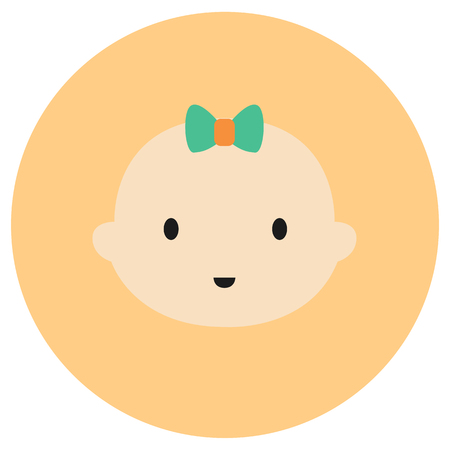 asian family fun: Cute baby face icon in trendy flat style isolated on grey background. Baby symbol for your design, UI. Illustration