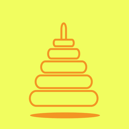 Baby toys pyramid cute icon in trendy flat style isolated on color background. Baby symbol for your design, UI.