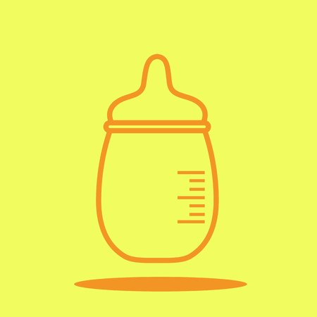 Bottle baby cute icon in trendy flat style isolated on color background. Baby symbol for your design, UI. Illustration