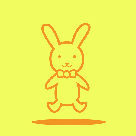 Bunny doll cute icon in trendy flat style isolated on color background. Baby symbol for your design, UI.