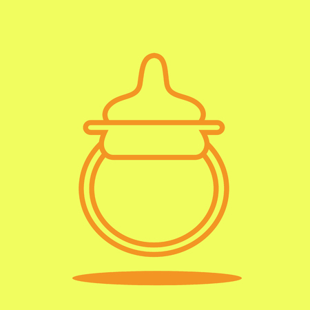 soothers: Baby pacifier cute icon in trendy flat style isolated on color background. Baby symbol for your design, UI.