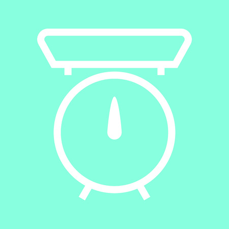 spring balance: Kitchen scale icon in trendy flat style isolated on grey background.