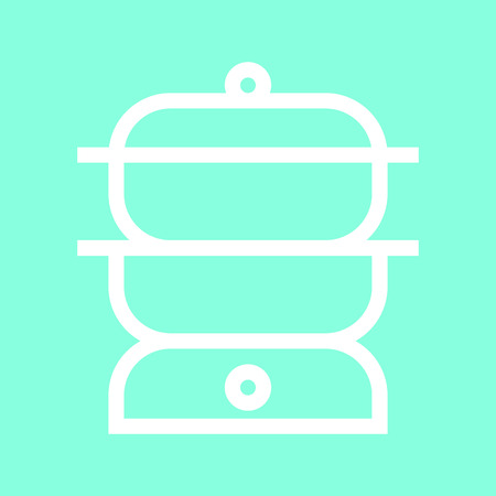 double boiler: Double boiler icon in trendy flat style isolated on grey background. Kitchen symbol for your design
