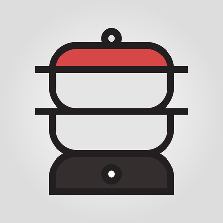 double boiler: Double boiler icon in trendy flat style isolated on grey background.