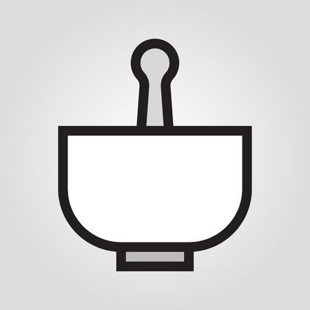 유 봉과 박격포 아이콘 유행 평면 스타일 회색 배경에 고립.
