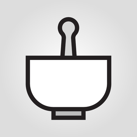 Pestle and mortar icon in trendy flat style isolated on grey background.