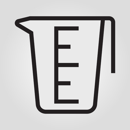 Measuring cup icon in trendy flat style isolated on grey background.