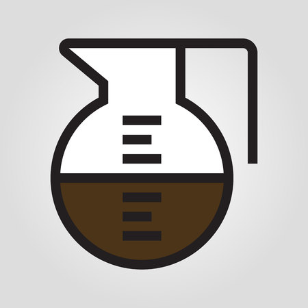 Coffee pot icon in trendy flat style isolated on grey background.