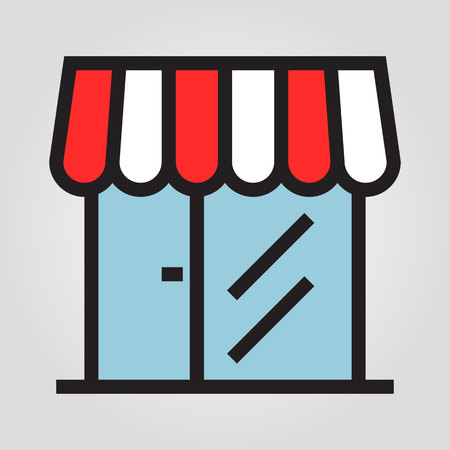 Store marketplace icon in trendy flat style isolated on grey background. Internet and ecommerce symbol for your design